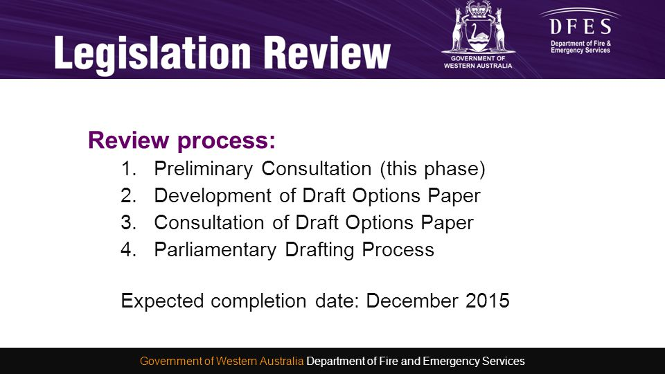 Review process: 1.Preliminary Consultation (this phase) 2.Development of Draft Options Paper 3.Consultation of Draft Options Paper 4.Parliamentary Dra