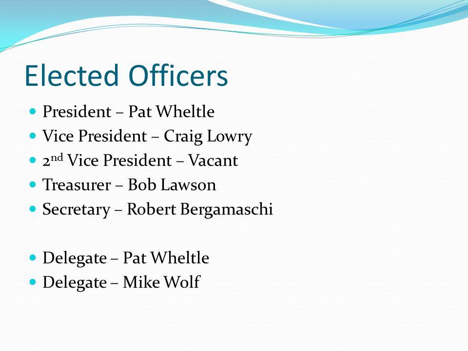 Elected Officers President – Pat Wheltle Vice President – Craig Lowry 2 nd Vice President – Vacant Treasurer – Bob Lawson Secretary – Robert Bergamasc