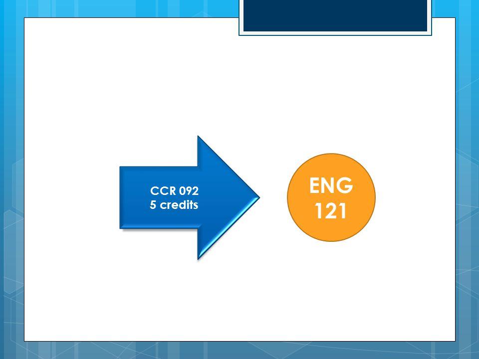 CCR 092 5 credits ENG 121
