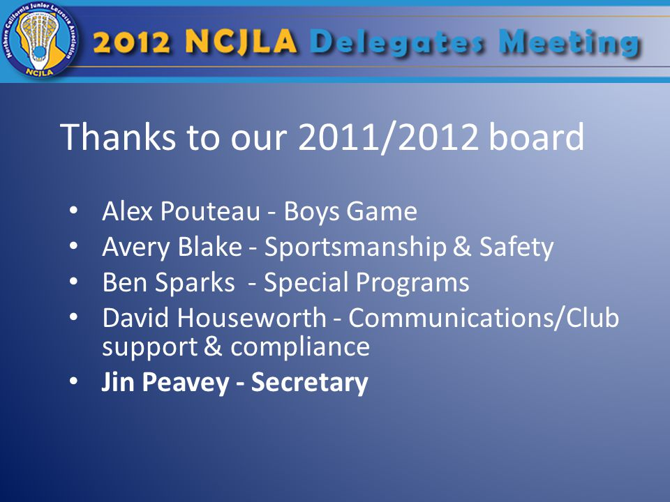Thanks to our 2011/2012 board Alex Pouteau - Boys Game Avery Blake - Sportsmanship & Safety Ben Sparks - Special Programs David Houseworth - Communications/Club support & compliance Jin Peavey - Secretary