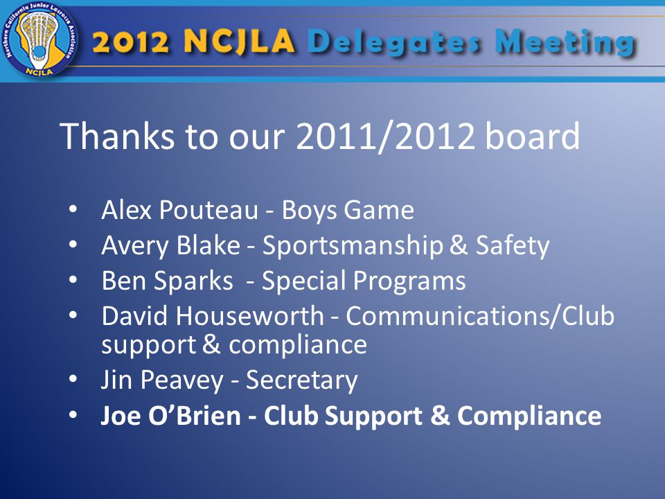 Thanks to our 2011/2012 board Alex Pouteau - Boys Game Avery Blake - Sportsmanship & Safety Ben Sparks - Special Programs David Houseworth - Communications/Club support & compliance Jin Peavey - Secretary Joe O'Brien - Club Support & Compliance