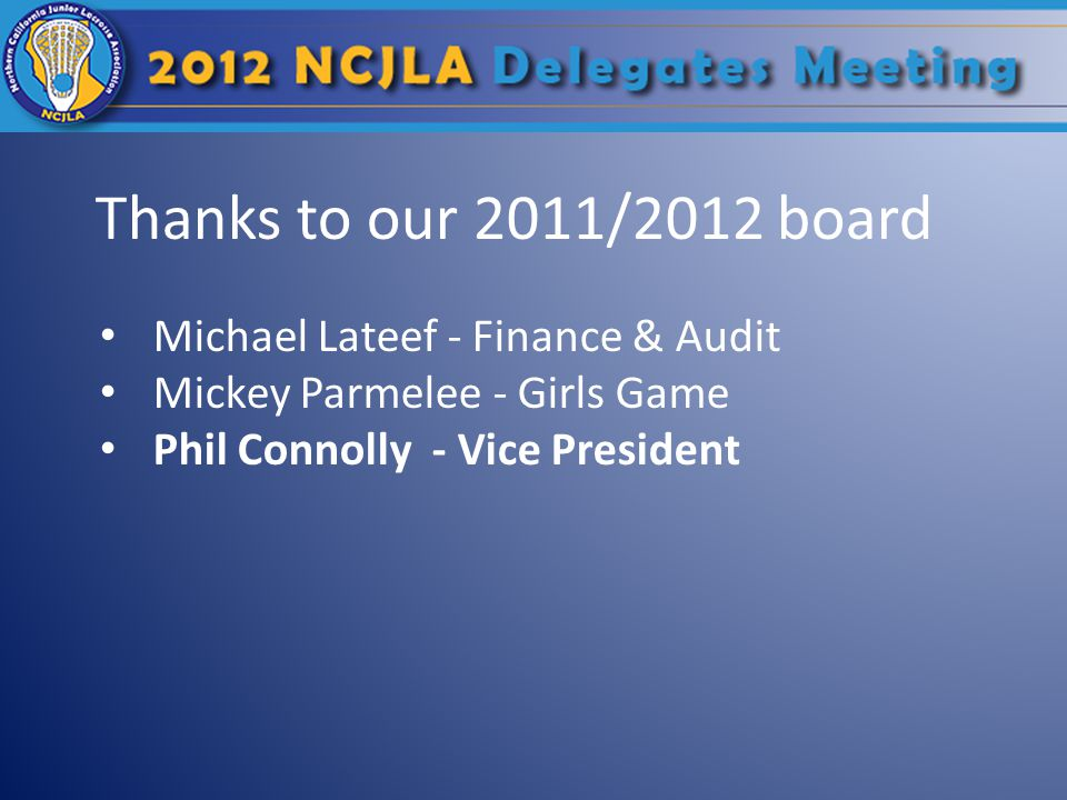 Thanks to our 2011/2012 board Michael Lateef - Finance & Audit Mickey Parmelee - Girls Game Phil Connolly - Vice President