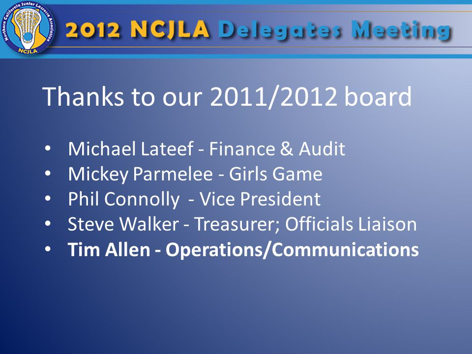 Thanks to our 2011/2012 board Michael Lateef - Finance & Audit Mickey Parmelee - Girls Game Phil Connolly - Vice President Steve Walker - Treasurer; Officials Liaison Tim Allen - Operations/Communications