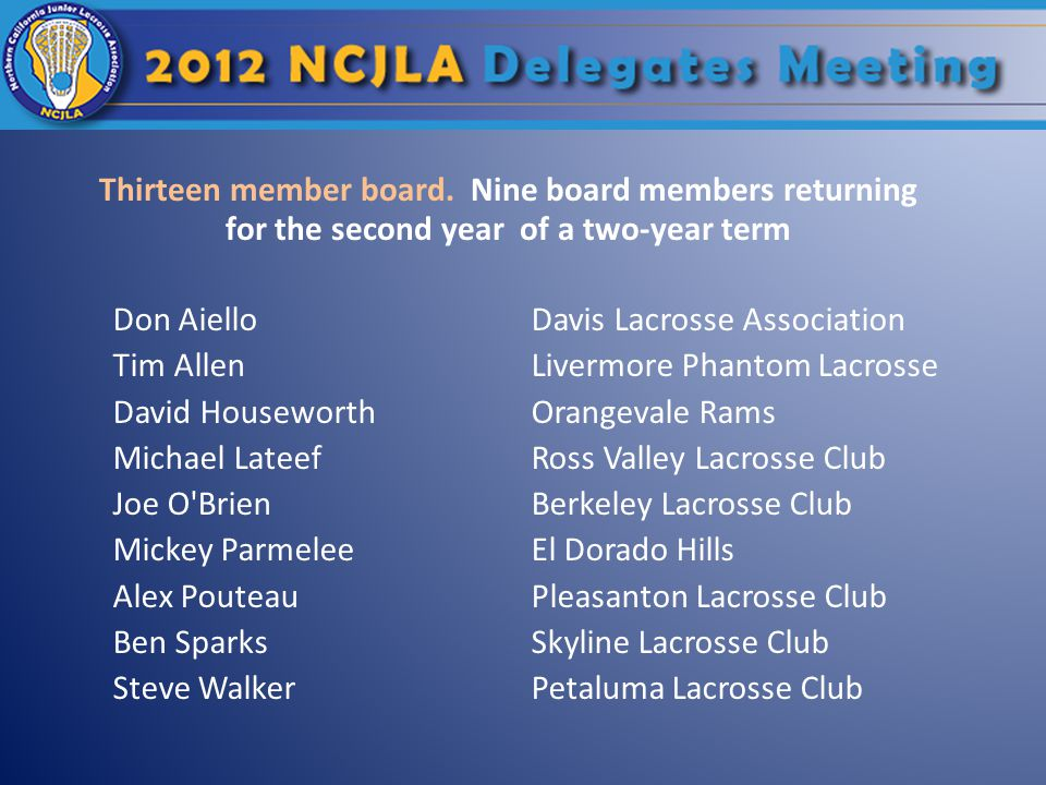 Thirteen member board.