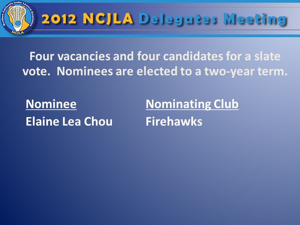 Four vacancies and four candidates for a slate vote. Nominees are elected to a two-year term. NomineeNominating Club Elaine Lea ChouFirehawks