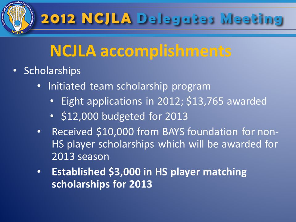 NCJLA accomplishments Scholarships Initiated team scholarship program Eight applications in 2012; $13,765 awarded $12,000 budgeted for 2013 Received $10,000 from BAYS foundation for non- HS player scholarships which will be awarded for 2013 season Established $3,000 in HS player matching scholarships for 2013