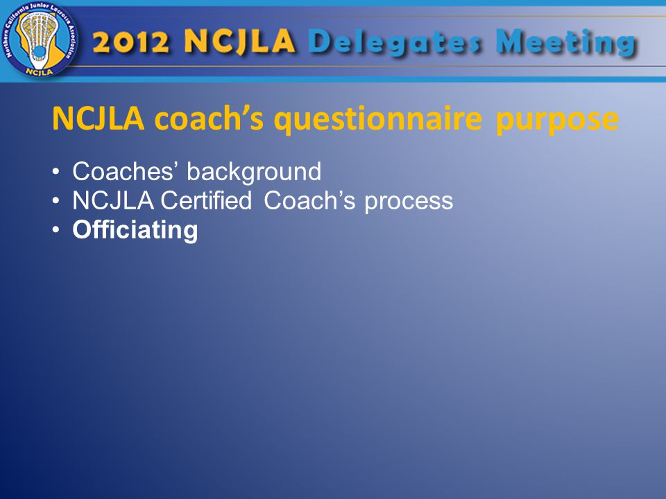 NCJLA coach's questionnaire purpose Coaches' background NCJLA Certified Coach's process Officiating