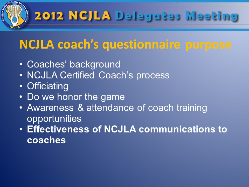 NCJLA coach's questionnaire purpose Coaches' background NCJLA Certified Coach's process Officiating Do we honor the game Awareness & attendance of coach training opportunities Effectiveness of NCJLA communications to coaches