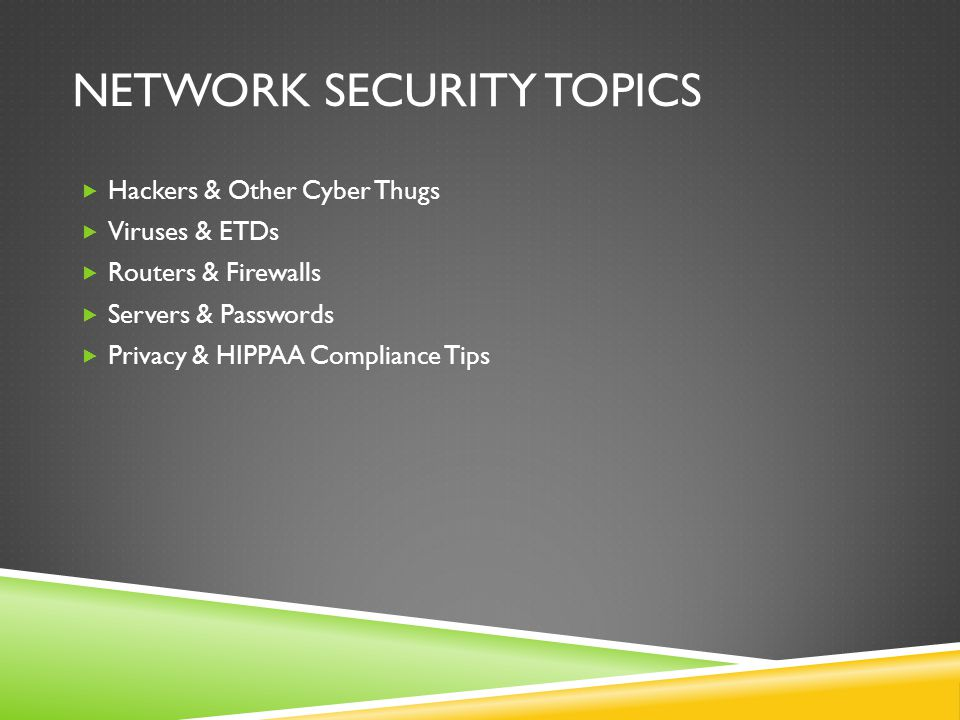 NETWORK SECURITY TOPICS  Hackers & Other Cyber Thugs  Viruses & ETDs  Routers & Firewalls  Servers & Passwords  Privacy & HIPPAA Compliance Tips