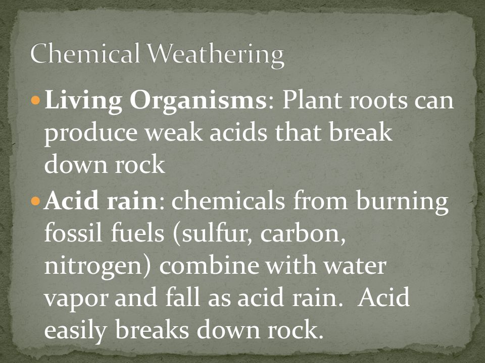 Living Organisms: Plant roots can produce weak acids that break down rock Acid rain: chemicals from burning fossil fuels (sulfur, carbon, nitrogen) co