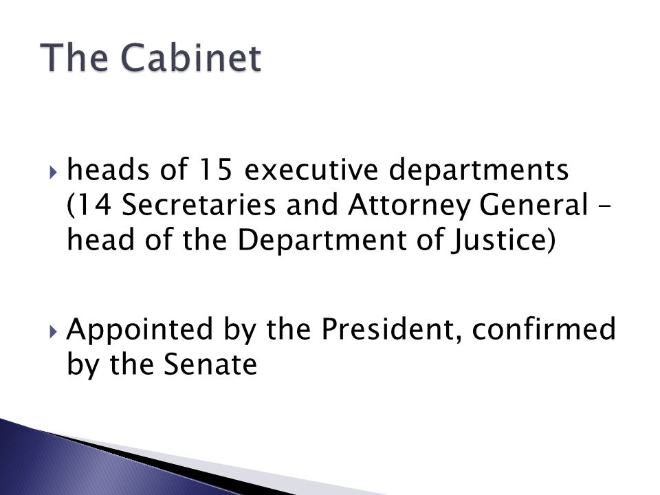  heads of 15 executive departments (14 Secretaries and Attorney General – head of the Department of Justice)  Appointed by the President, confirmed by the Senate
