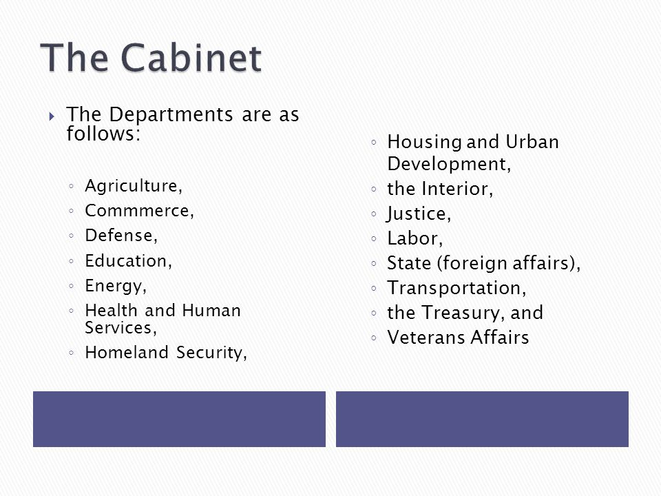  The Departments are as follows: ◦ Agriculture, ◦ Commmerce, ◦ Defense, ◦ Education, ◦ Energy, ◦ Health and Human Services, ◦ Homeland Security, ◦ Housing and Urban Development, ◦ the Interior, ◦ Justice, ◦ Labor, ◦ State (foreign affairs), ◦ Transportation, ◦ the Treasury, and ◦ Veterans Affairs