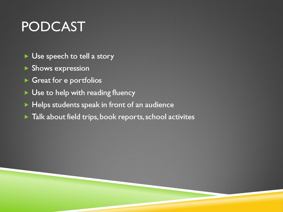 PODCAST  Use speech to tell a story  Shows expression  Great for e portfolios  Use to help with reading fluency  Helps students speak in front of