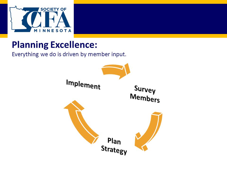 MISSION: To enhance the investment profession by promoting high ethical behavior, professional excellence, and fellowship through offering quality, innovative programming.