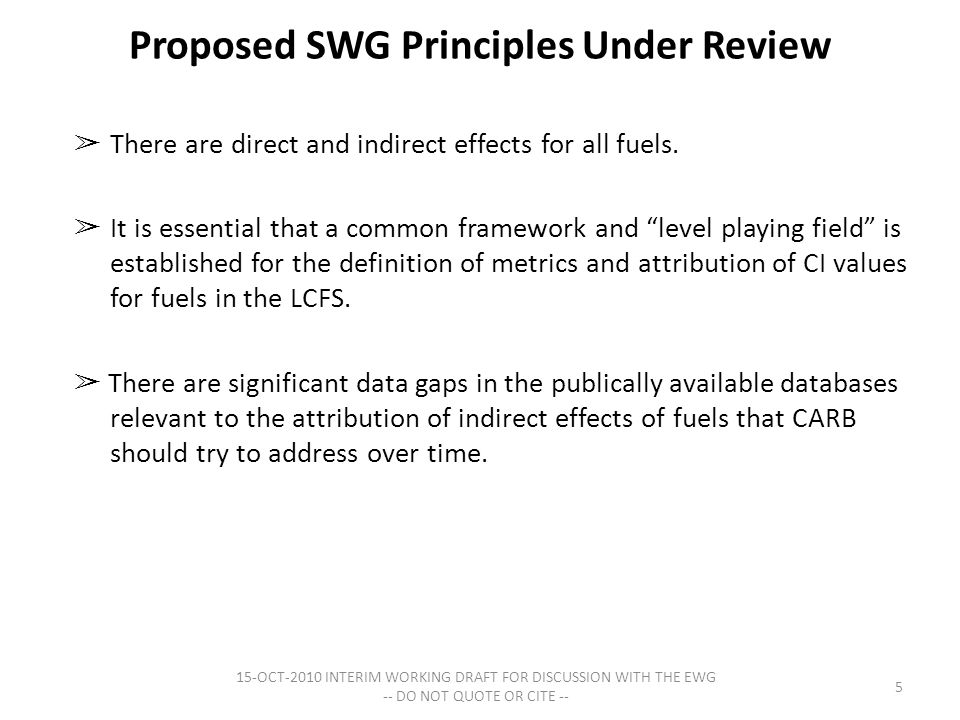 Proposed SWG Principles Under Review ➢ There are direct and indirect effects for all fuels.