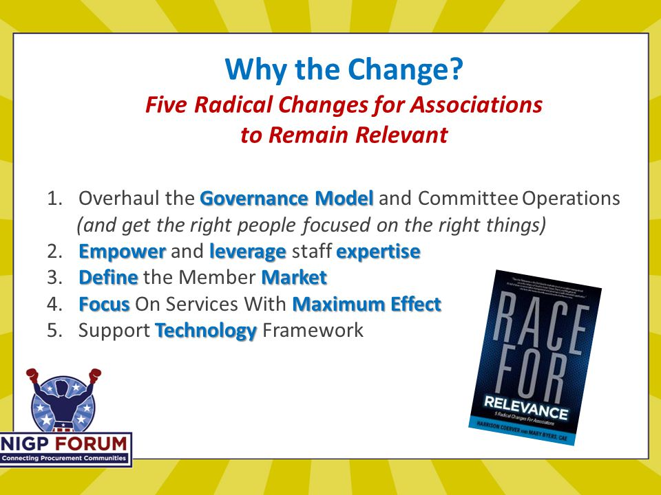 Why the Change. Five Radical Changes for Associations to Remain Relevant Governance Model 1.