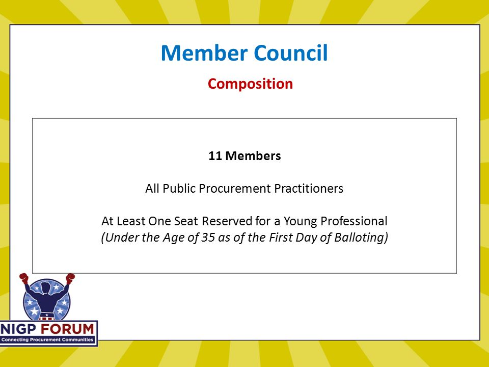 Member Council Composition 11 Members All Public Procurement Practitioners At Least One Seat Reserved for a Young Professional (Under the Age of 35 as of the First Day of Balloting)