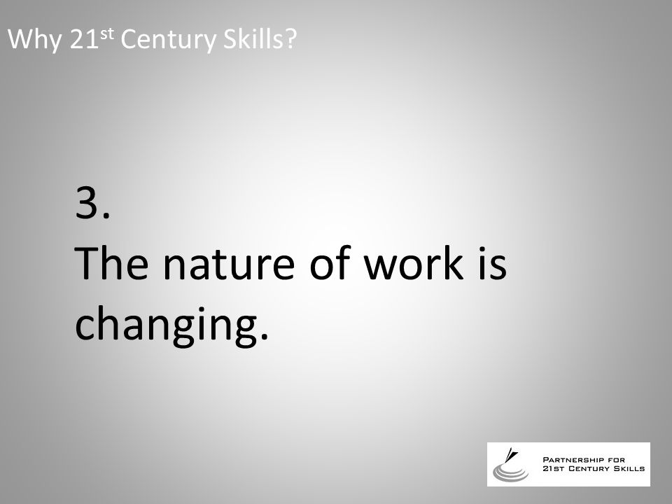 3. The nature of work is changing. Why 21 st Century Skills?