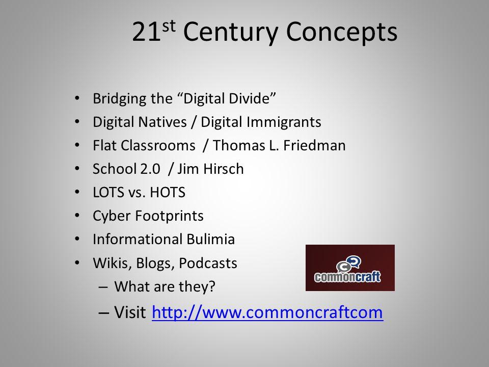 "21 st Century Concepts Bridging the ""Digital Divide"" Digital Natives / Digital Immigrants Flat Classrooms / Thomas L. Friedman School 2.0 / Jim Hirsch"
