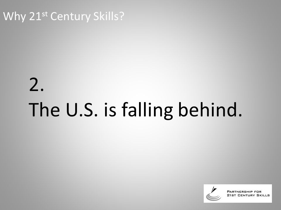 2. The U.S. is falling behind. Why 21 st Century Skills?