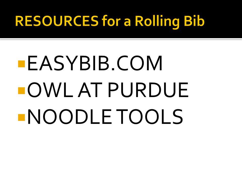  EASYBIB.COM  OWL AT PURDUE  NOODLE TOOLS