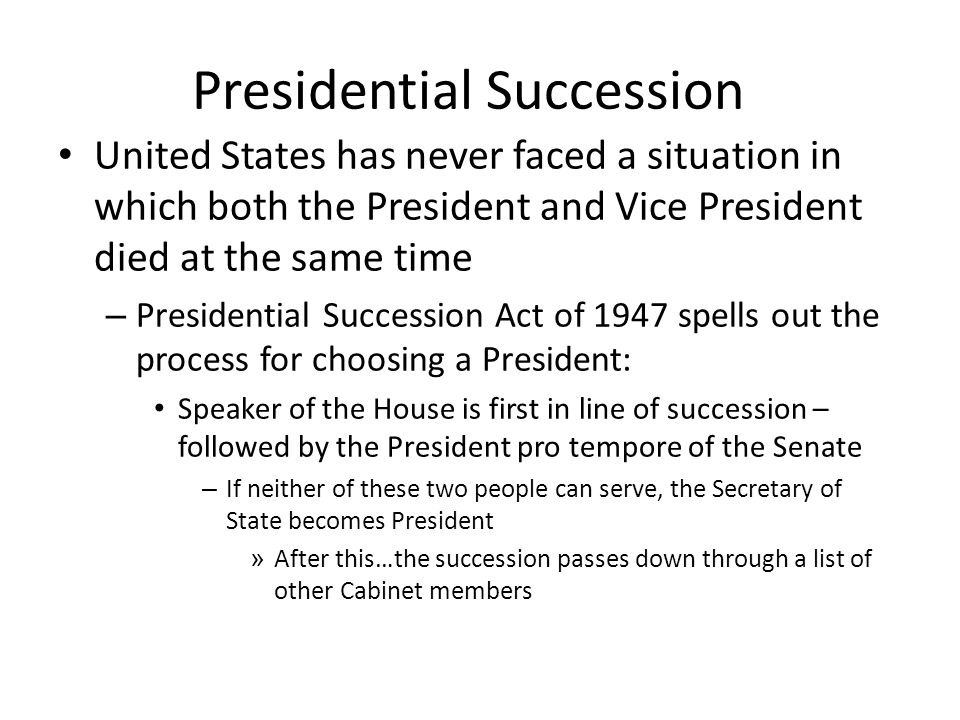 Presidential Succession United States has never faced a situation in which both the President and Vice President died at the same time – Presidential