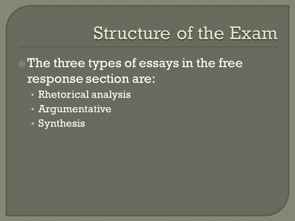  The three types of essays in the free response section are: Rhetorical analysis Argumentative Synthesis