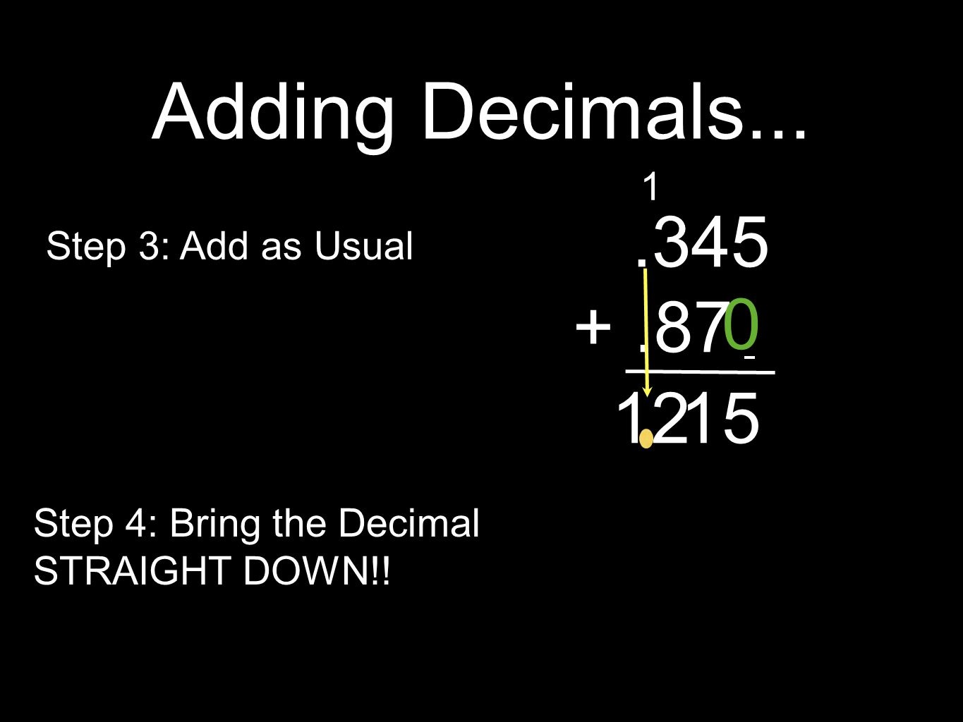 Adding Decimals... Step 3: Add as Usual Step 4: Bring the Decimal STRAIGHT DOWN!!.345 +.87 0 5 1 112