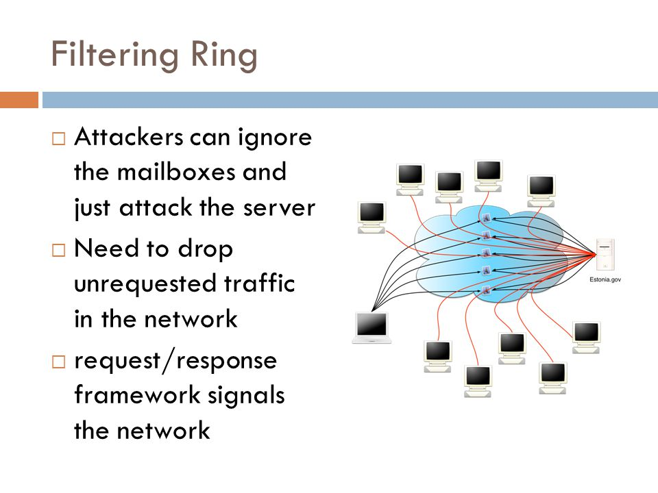 Filtering Ring  Attackers can ignore the mailboxes and just attack the server  Need to drop unrequested traffic in the network  request/response framework signals the network