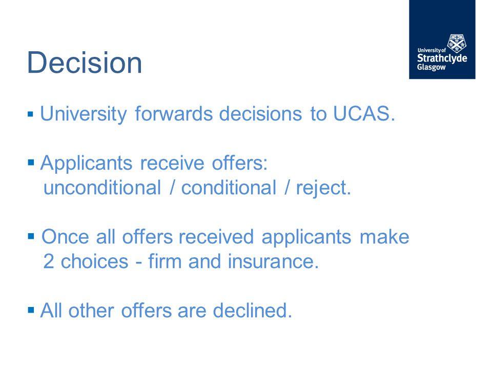 Decision  University forwards decisions to UCAS.