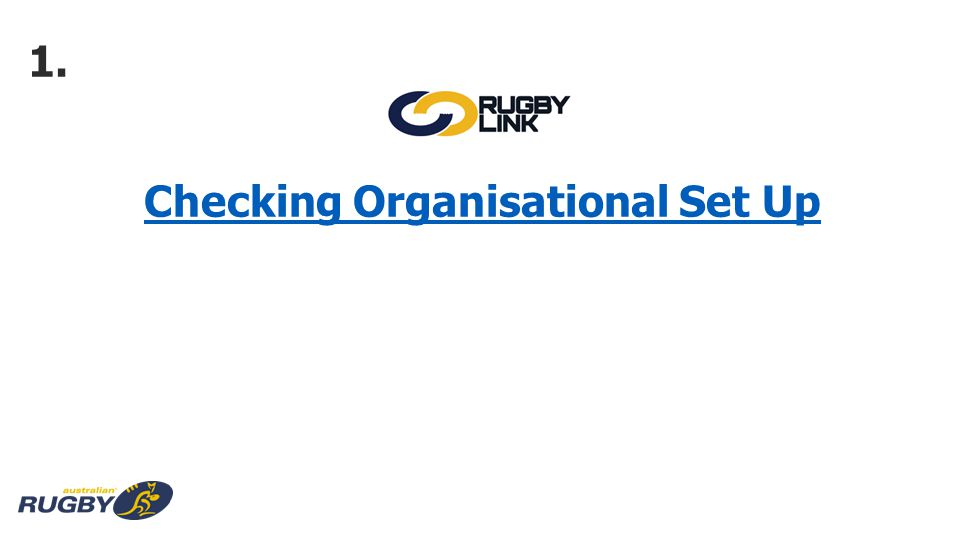 Checking Organisational Set Up 1.
