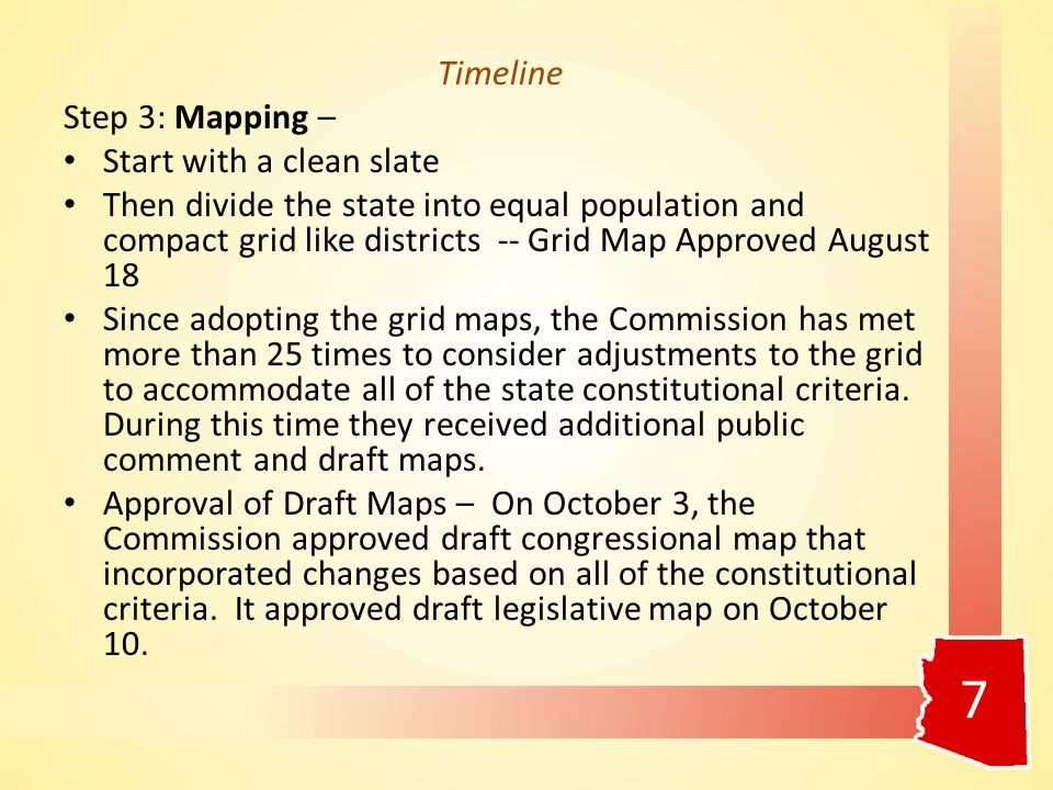 Timeline Step 3: Mapping – Start with a clean slate Then divide the state into equal population and compact grid like districts -- Grid Map Approved August 18 Since adopting the grid maps, the Commission has met more than 25 times to consider adjustments to the grid to accommodate all of the state constitutional criteria.