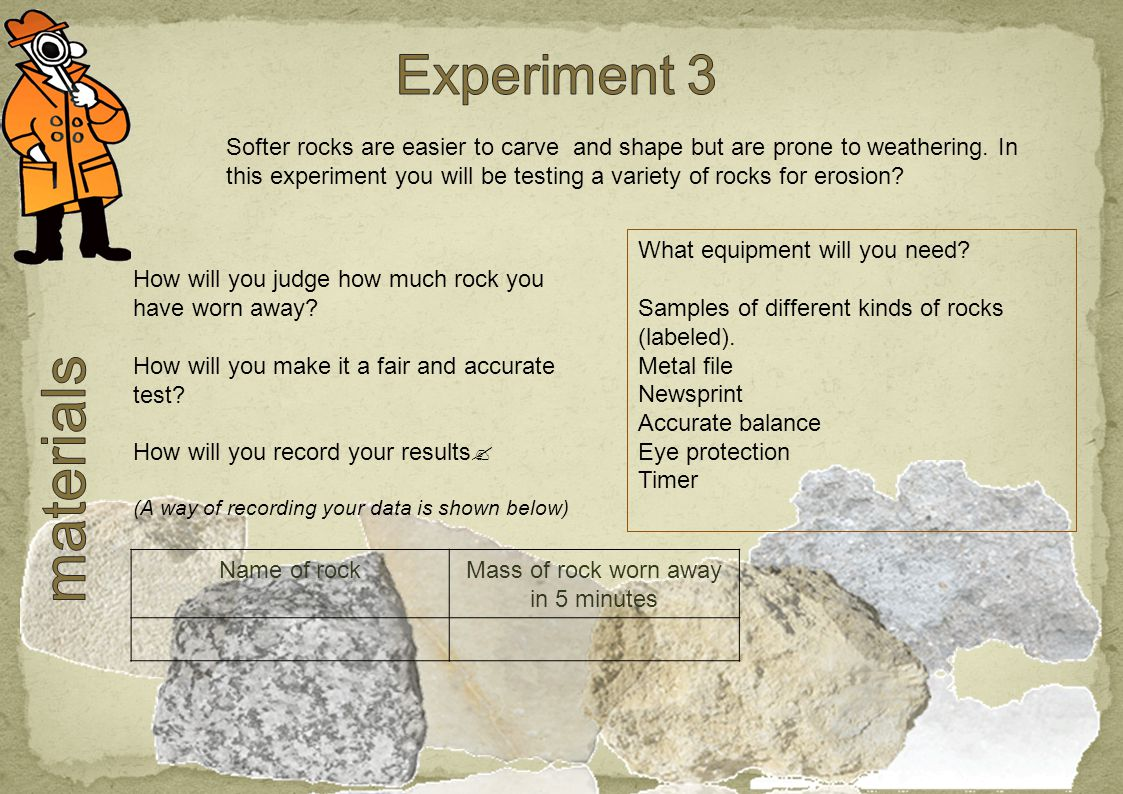 What equipment will you need. Samples of different kinds of rocks (labeled).