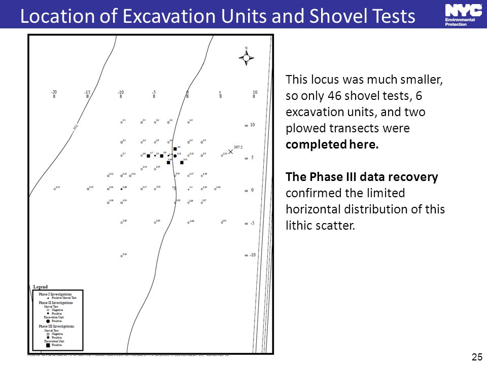 25 Location of Excavation Units and Shovel Tests This locus was much smaller, so only 46 shovel tests, 6 excavation units, and two plowed transects were completed here.
