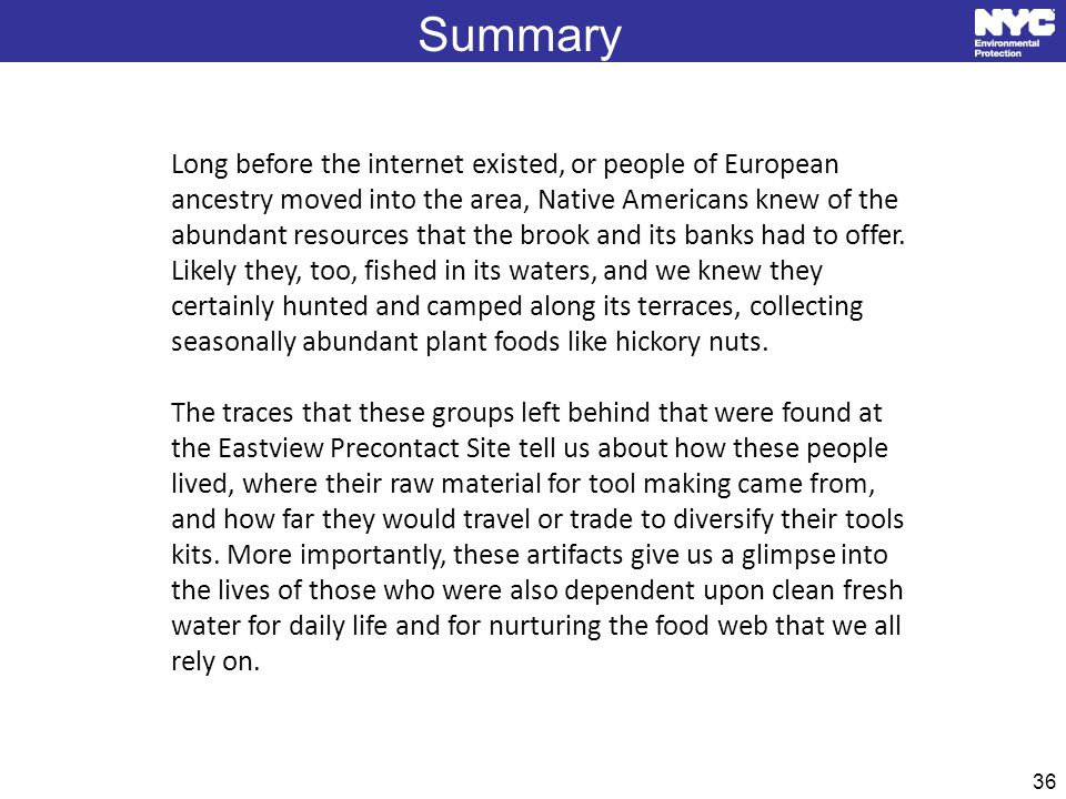 36 Summary Long before the internet existed, or people of European ancestry moved into the area, Native Americans knew of the abundant resources that the brook and its banks had to offer.
