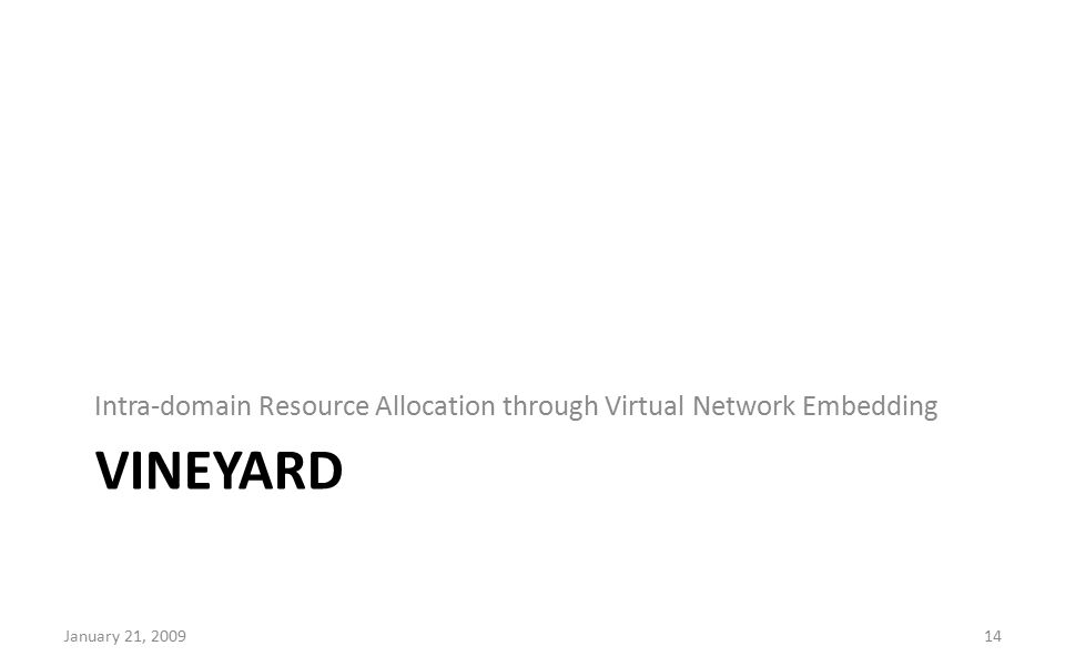 VINEYARD Intra-domain Resource Allocation through Virtual Network Embedding January 21, 200914