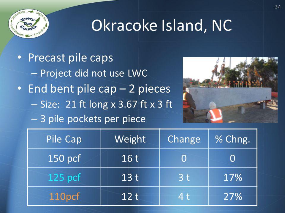 34 Okracoke Island, NC Precast pile caps – Project did not use LWC End bent pile cap – 2 pieces – Size: 21 ft long x 3.67 ft x 3 ft – 3 pile pockets per piece Pile CapWeightChange% Chng.