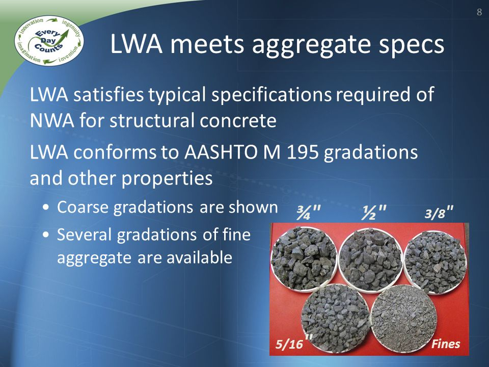 88 LWA satisfies typical specifications required of NWA for structural concrete LWA conforms to AASHTO M 195 gradations and other properties Coarse gradations are shown Several gradations of fine aggregate are available LWA meets aggregate specs ¾ ½ 3/8 5/16 Fines