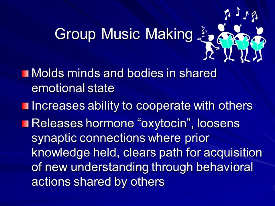 Circle Music as cultural expression Brain as it processes music and language Music as means of expressing emotions Music making in a group setting Cultural expression Bonding Music and Language In Brain Music to express emotions Music making In groups