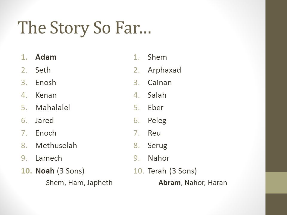 The Story So Far… Big Expectations for Abraham: 1.God will do something new/miraculous with Abraham.