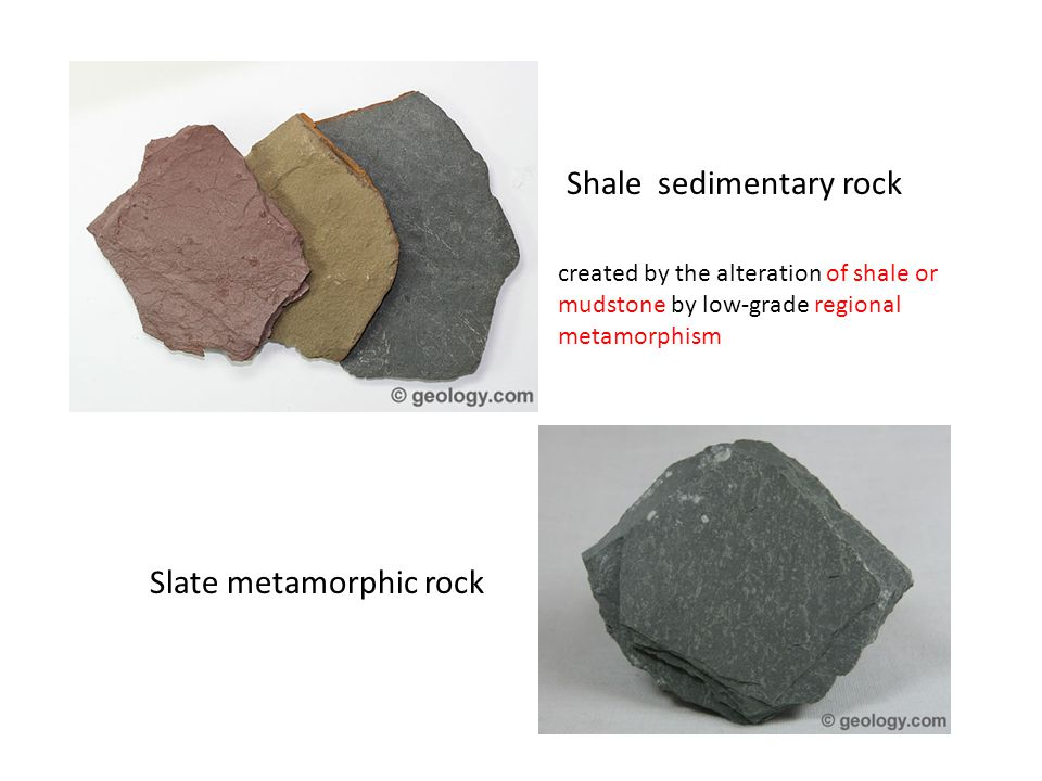 Shale sedimentary rock Slate metamorphic rock created by the alteration of shale or mudstone by low-grade regional metamorphism