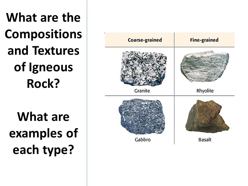 What are the Compositions and Textures of Igneous Rock? What are examples of each type?