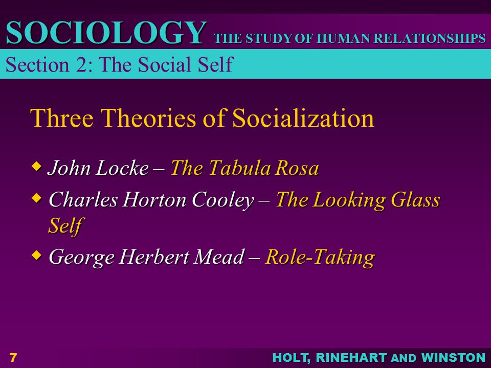 THE STUDY OF HUMAN RELATIONSHIPS SOCIOLOGY HOLT, RINEHART AND WINSTON 8 John Locke – The Tabula Rosa  Each person is a blank slate at birth, with no personality.