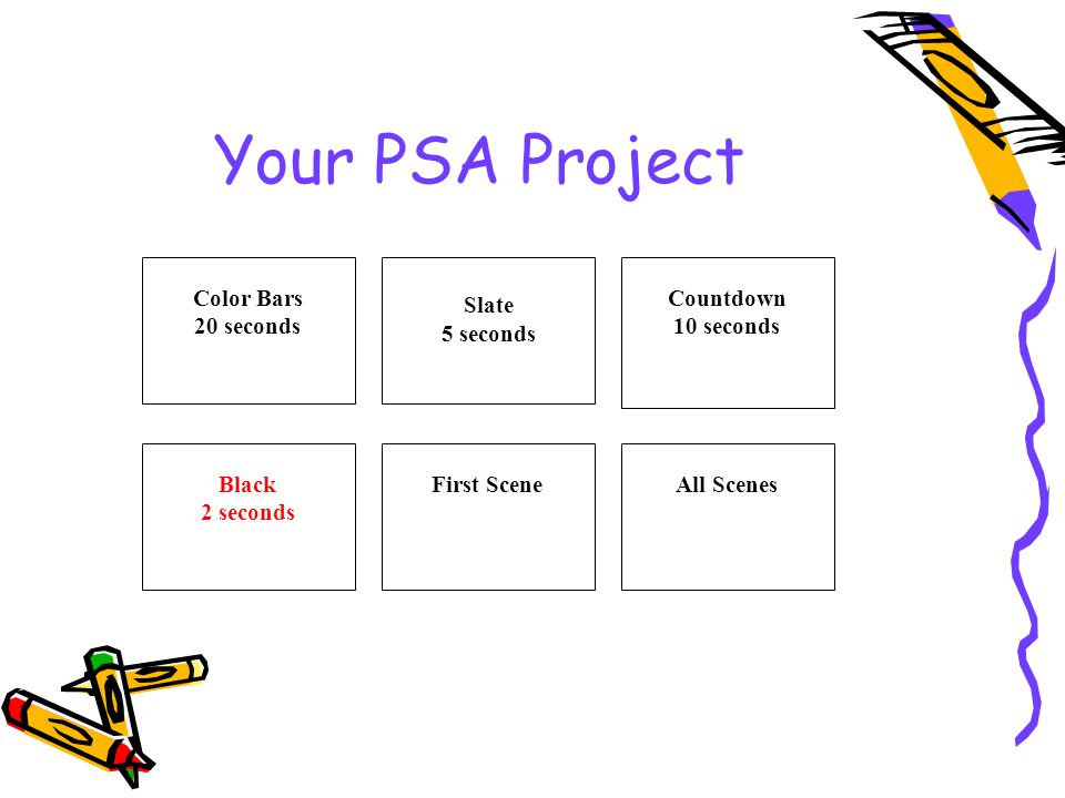 Your PSA Project Color Bars 20 seconds Slate 5 seconds Countdown 10 seconds Black 2 seconds First SceneAll Scenes
