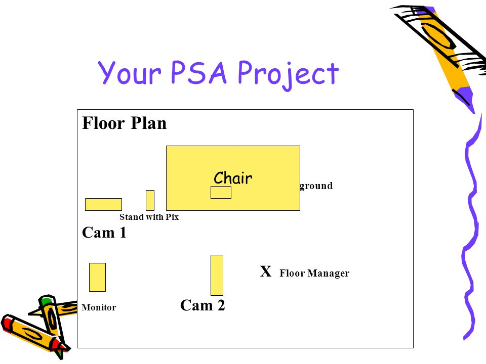 Your PSA Project Floor Plan Set Background Stand with Pix Cam 1 X Floor Manager Monitor Cam 2 Chair