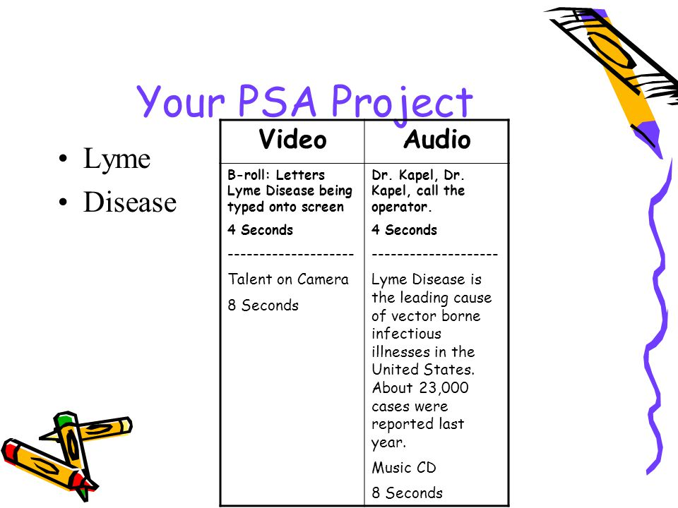 Your PSA Project Lyme Disease VideoAudio B-roll: Letters Lyme Disease being typed onto screen 4 Seconds -------------------- Talent on Camera 8 Seconds Dr.