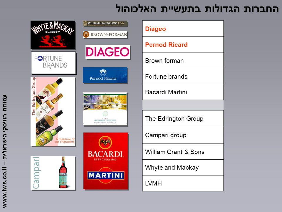 עמותת הוויסקי הישראלית – www.iws.co.il Diageo Pernod Ricard Brown forman Fortune brands Bacardi Martini The Edrington Group Campari group William Grant & Sons Whyte and Mackay LVMH החברות הגדולות בתעשיית האלכוהול