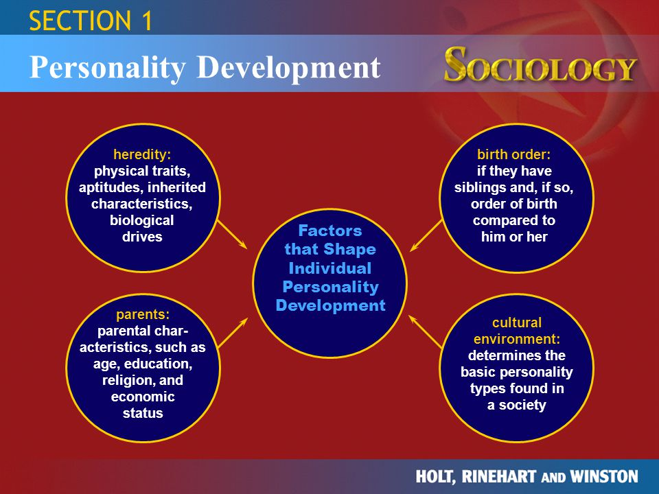 SECTION 1 Personality Development Factors that Shape Individual Personality Development parents: parental char- acteristics, such as age, education, r