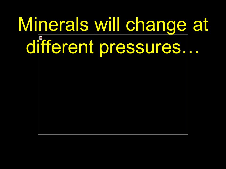 67 Minerals will change at different pressures…