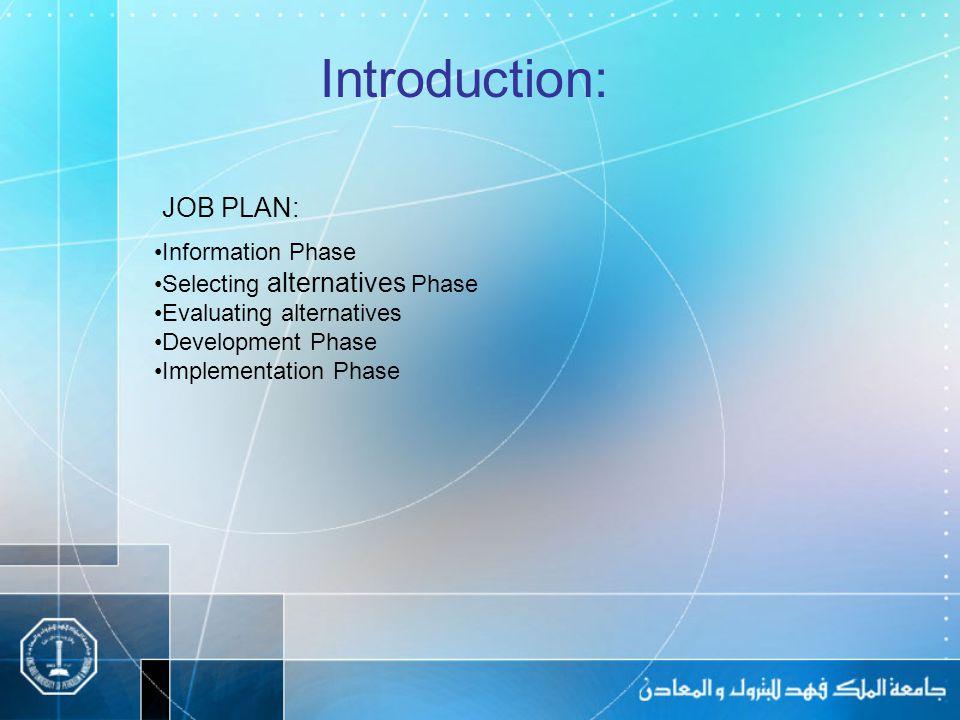 JOB PLAN: Introduction: Information Phase Selecting alternatives Phase Evaluating alternatives Development Phase Implementation Phase